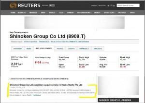 Reuters copy Hecks Realty news