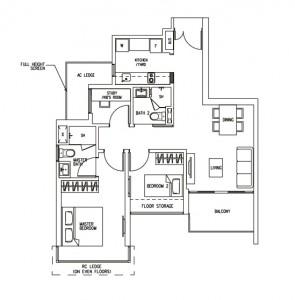 H2O Residences 2 bedroom Floorplan