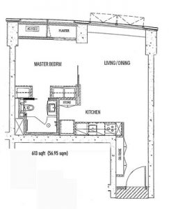 Sail Marina Bay 1 Bed Floorplan